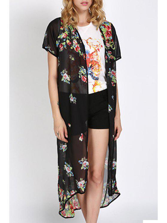 womens Floral Chiffon Kimono Blouse - BLACK S