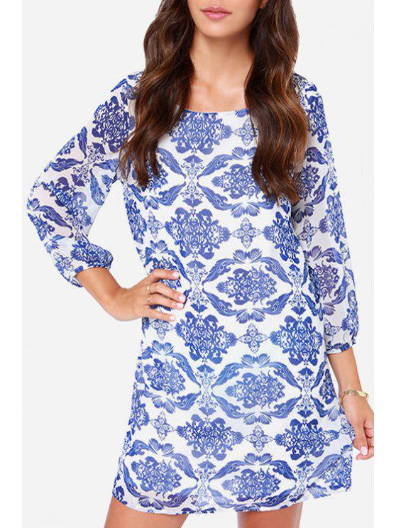 women Print Scoop Neck Nine-Minute Sleeve Dress - AS THE PICTURE S