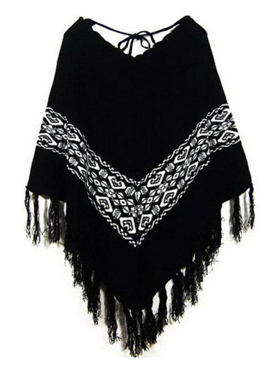 buy Bat-Wing Sleeve Loose-Fitting Cape Sweater - BLACK ONE SIZE(FIT SIZE XS TO M)