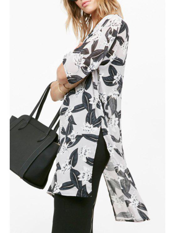 sale Glamorous Split Seam Floral Dress - WHITE AND BLACK S