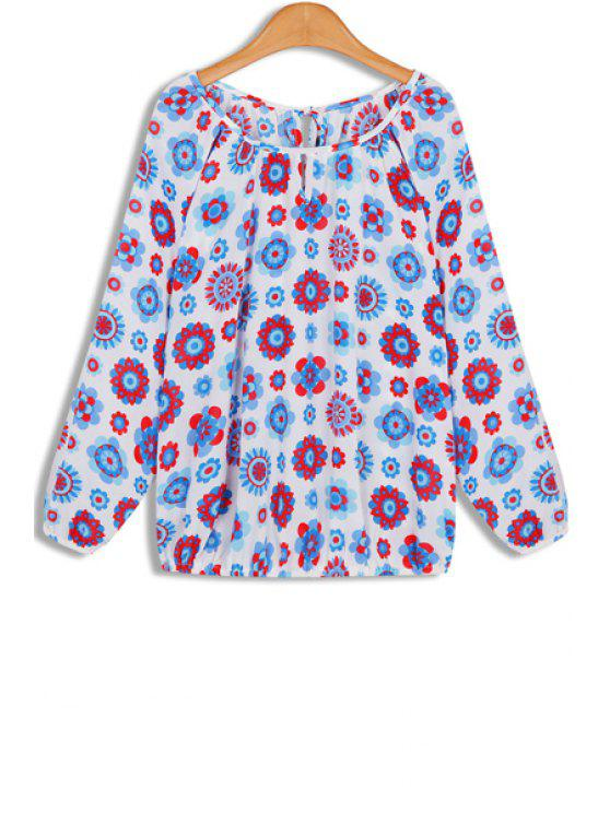 womens Floral Print Long Sleeves Round Collar Chiffon Blouse - BLUE AND RED ONE SIZE(FIT SIZE XS TO M)