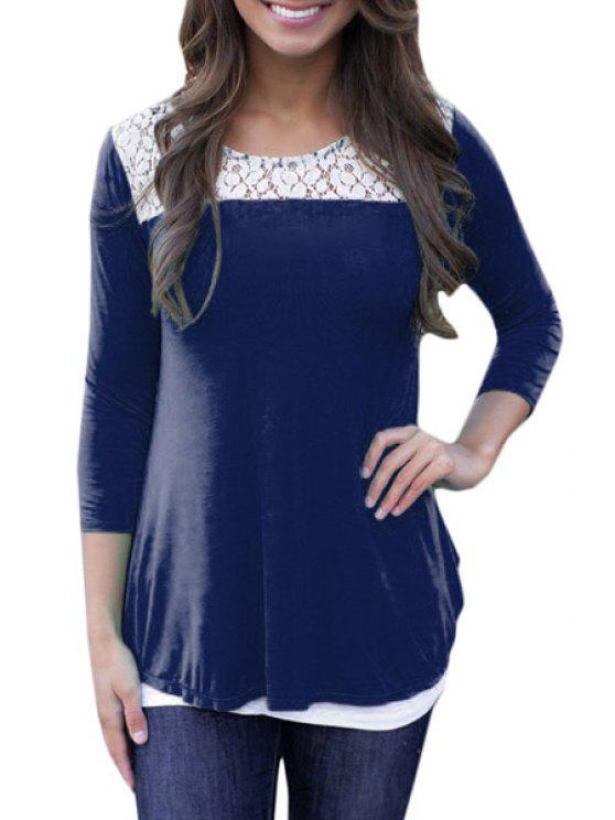 online Hollow Back Lace Spliced T-Shirt - BLUE M