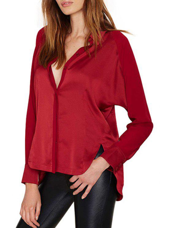 sale Red Turn Down Collar Long Sleeve Shirt - RED S