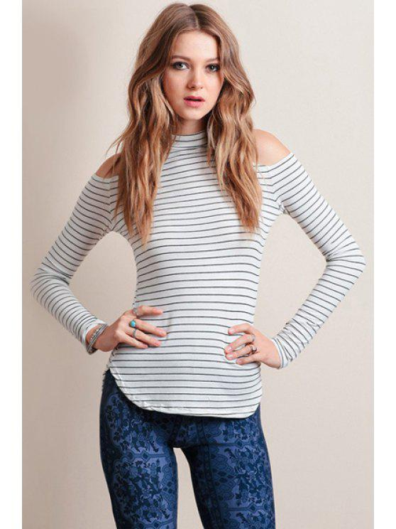 shop Striped Hollow Stand Neck Long Sleeve T-Shirt - WHITE S