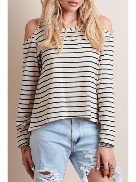 chic Striped Cut Out Scoop Neck Long Sleeve T-Shirt - AS THE PICTURE S