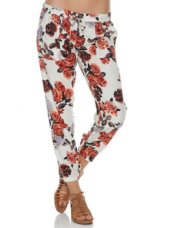 womens Tie-Up Floral Print Pants - WHITE S