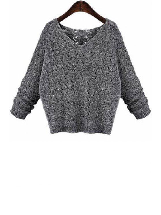 sale V-Neck Loose-Fitting Gray Sweater - DEEP GRAY ONE SIZE(FIT SIZE XS TO M)