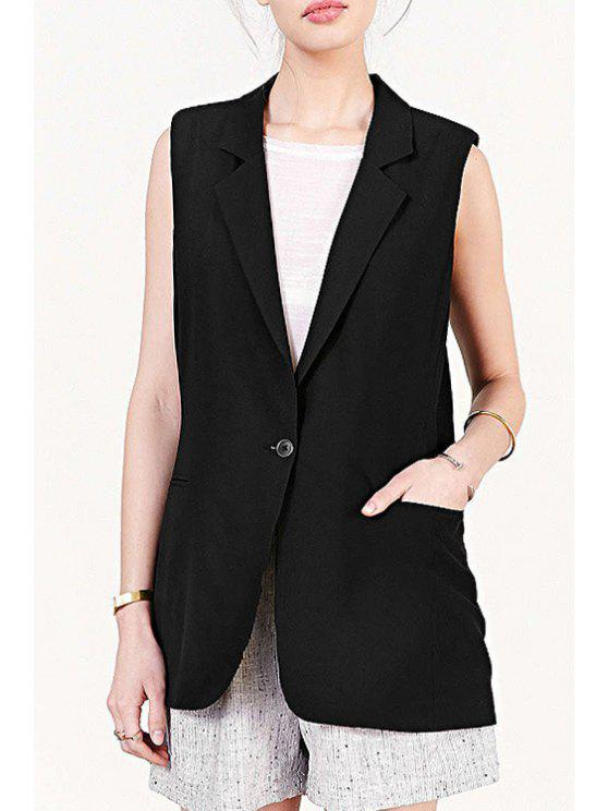 shop Lapel Black One Button Sleeveless Waistcoat - BLACK S
