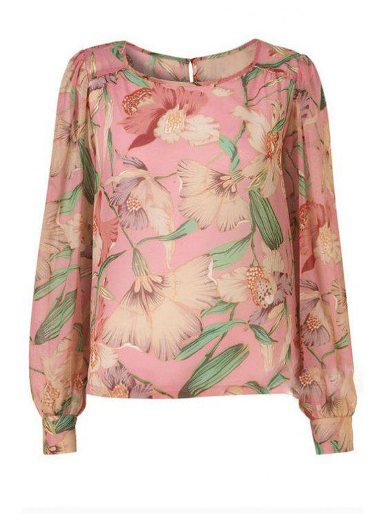 new Flower Print Scoop Neck Long Sleeve Blouse - LIGHT PINK S