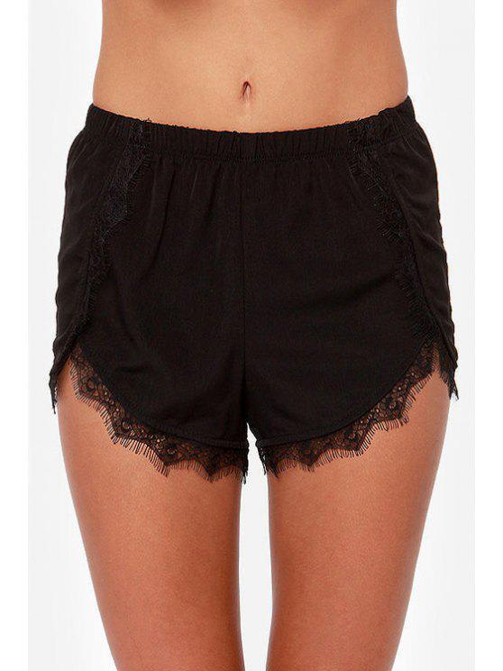 online Black Lace Splicing Elastic Waist Shorts - BLACK XS