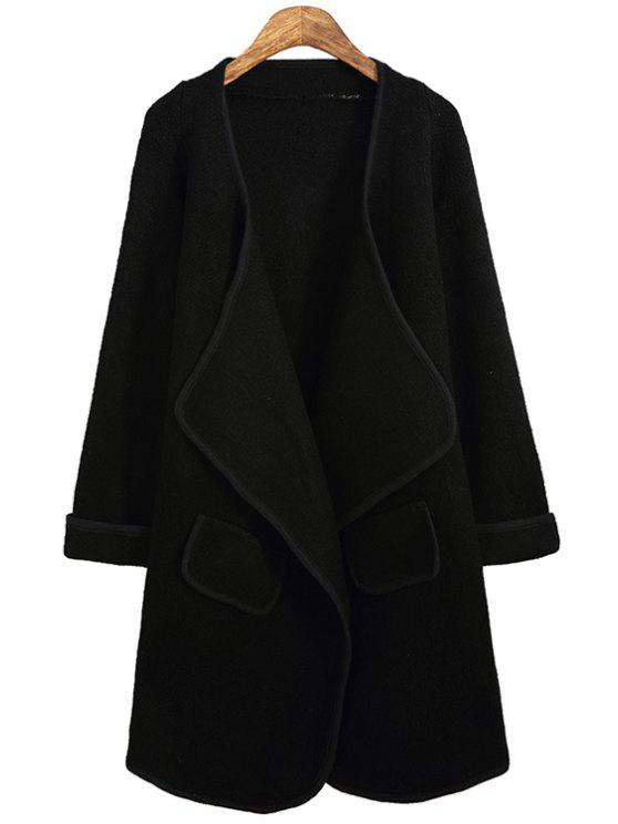 outfit Turn- Down Collor Long Sleeves Solid Color Cardigan - BLACK ONE SIZE(FIT SIZE XS TO M)