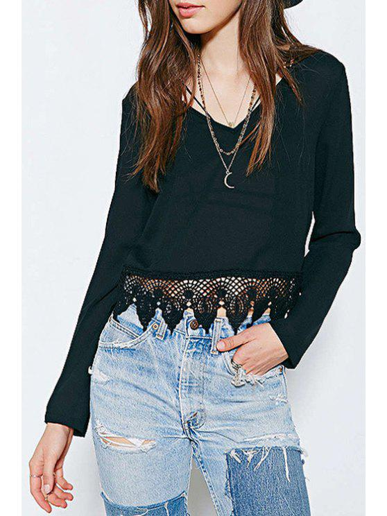 womens Black Lace Splicing Long Sleeve Crop Top - BLACK XS
