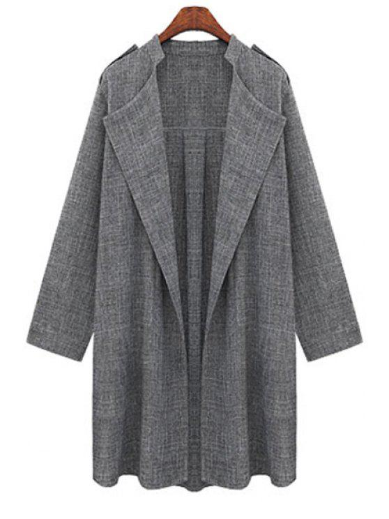 hot Gray Plus Size Trench Coat - GRAY XL