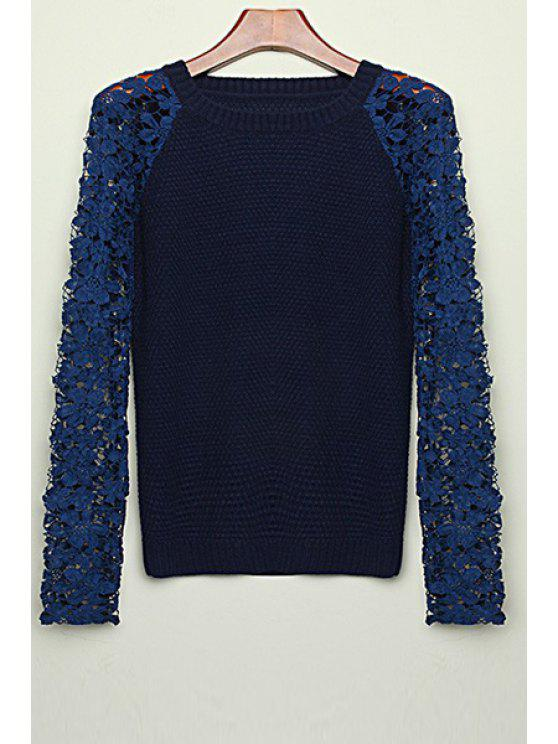 outfits Long Sleeve Lace Patchwork Sweater - BLACK S