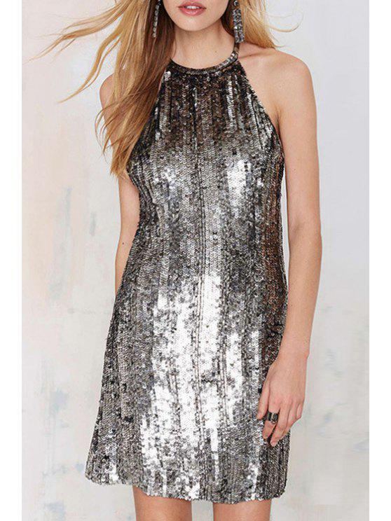 best Silver Sequins Sleeveless Dress - SILVER L