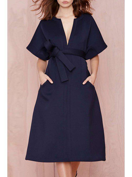 hot V-Neck Solid Color Belt Short Sleeve Dress - BLUE S
