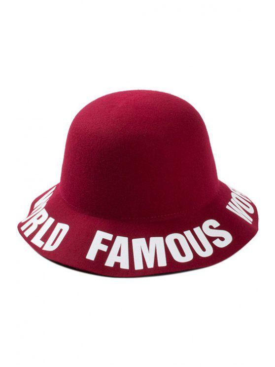 shops Letters Brim Felt Bucket Hat - WINE RED