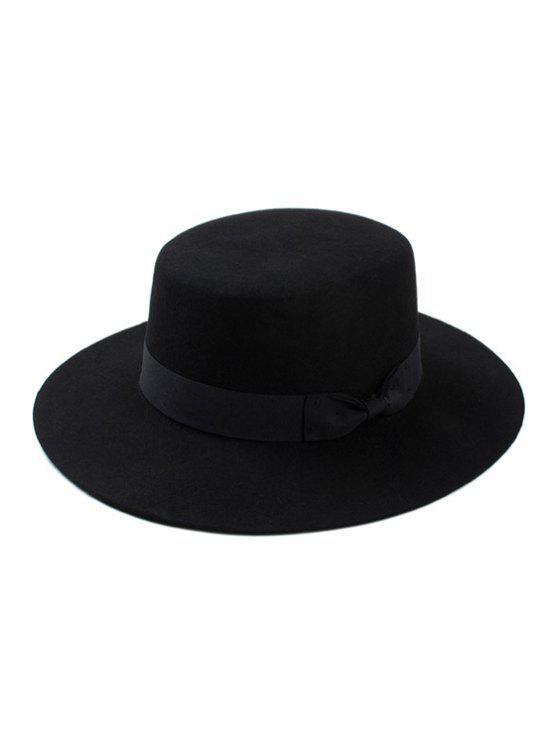 fashion Bow Felt Jazz Hat - BLACK