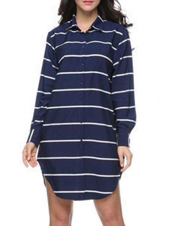 fashion Long Sleeve Striped Boyfriend Shirt - BLUE S