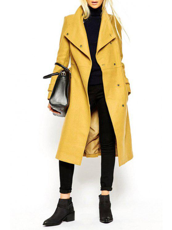 latest Turn-Down Collar Belt Tie-Up Trench Coat - YELLOW XL