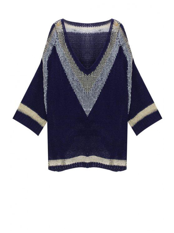 women Golden Stripes Side Slit Sweater - BLUE ONE SIZE(FIT SIZE XS TO M)