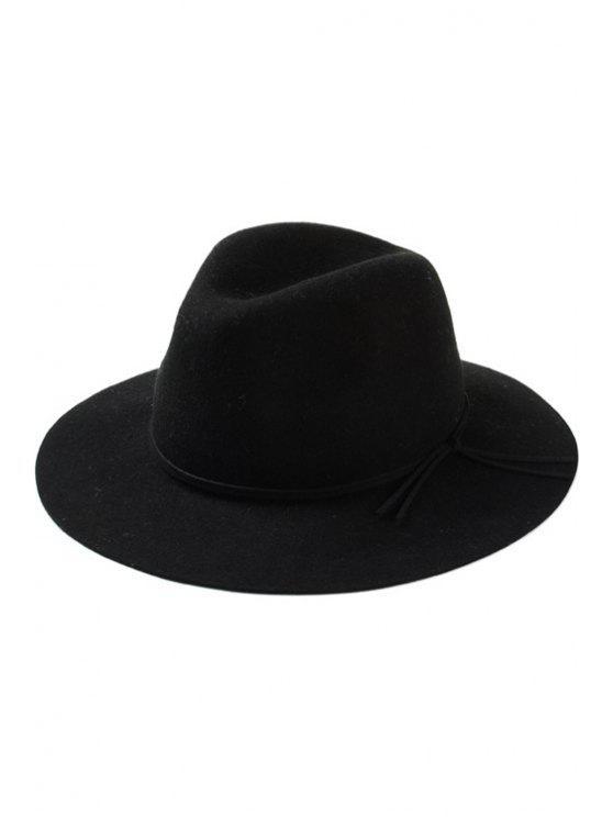 unique Lace-Up Felt Jazz Hat - BLACK
