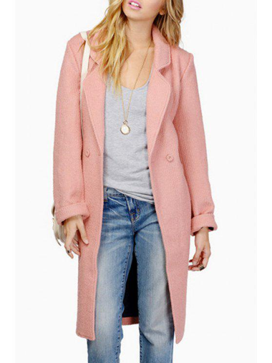 fancy Lapel Solid Color Back Split Trench Coat - PINK S