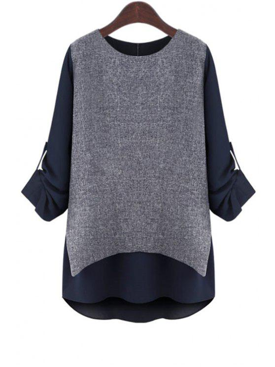 sale Rolled Sleeve Layered T-Shirt - BLUE M