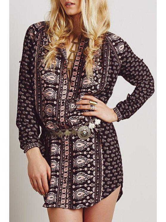 fashion Stand Neck Long Sleeve Floral Dress - BLACK BROWN S