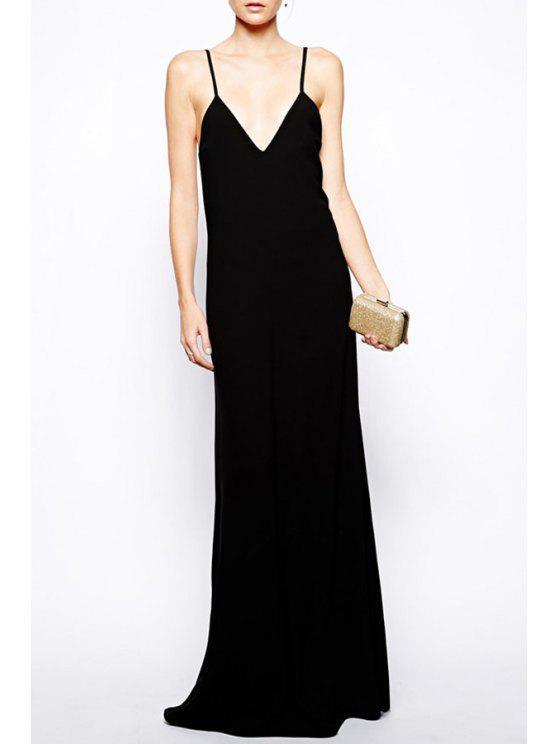 best Black Cami Open Back Maxi Dress - BLACK S
