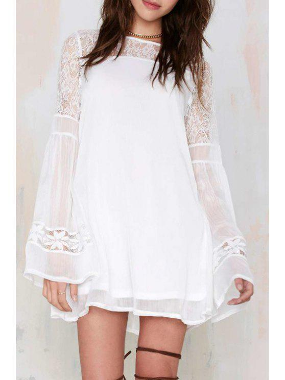 fashion Lace Spliced White Long Sleeves Dress - WHITE S