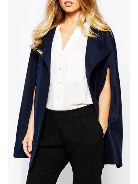 best Solid Color Sleeveless Cloak Coat - NAVY BLUE S