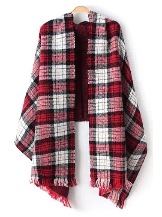 ladies Plaid Pattern Fringed Pashmina - AS THE PICTURE