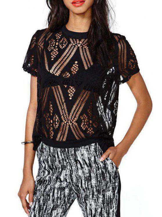 fancy Black See-Through Short Sleeve T-Shirt - BLACK M
