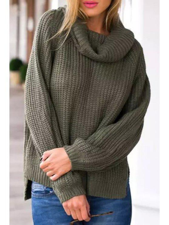 women's Turtle Neck High Low Hem Sweater - GREEN ONE SIZE(FIT SIZE XS TO M)