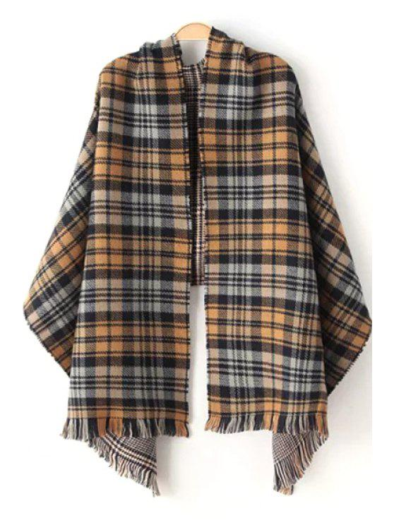 lady Houndstooth Plaid Pattern Fringed Pashmina - AS THE PICTURE