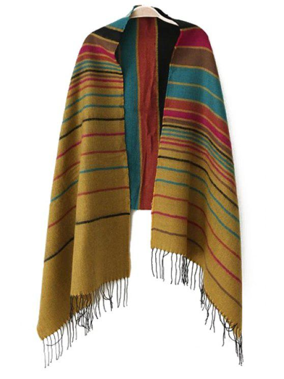 best Multicolor Striped Tassel Pashmina - GINGER