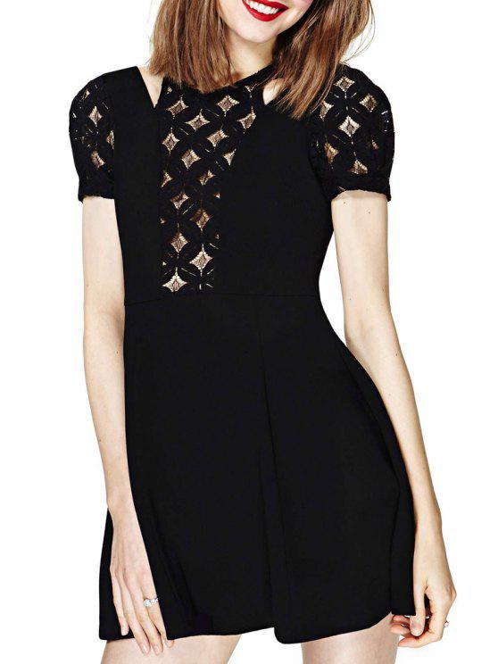 outfits Black Hollow Short Sleeve A Line Dress - BLACK S