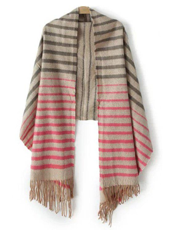 online Color Block Striped Tassel Pashmina - GRAY