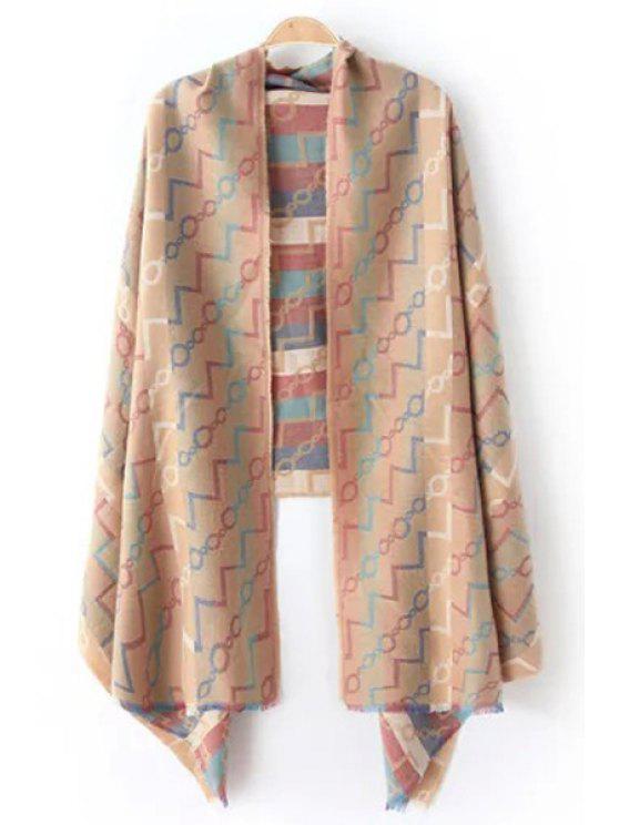 outfits Chain Wavy Stripe Pattern Fringed Pashmina - KHAKI