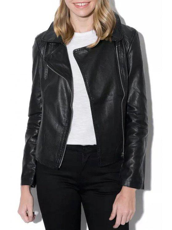 online Lapel Zippered Faux Leather Jacket - BLACK S