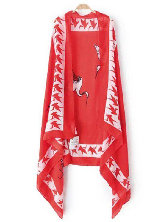 Red-Crowned Crane Print Pashmina - Rojo