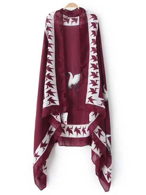Red-Crowned Crane Print Pashmina - Vino Rojo