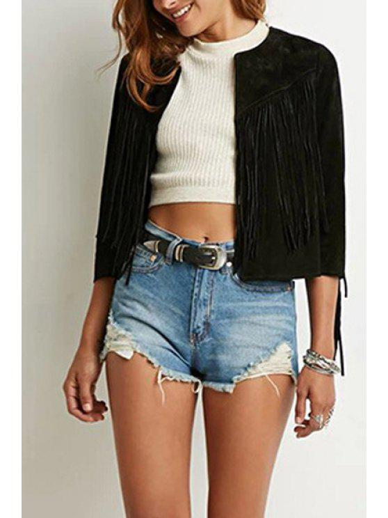 fancy Solid Color Tassel 3/4 Sleeve Jacket - BLACK S