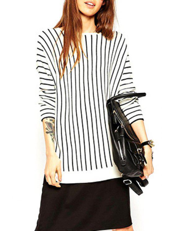 chic Jewel Neck Black Stripes Long Sleeve Sweater - WHITE AND BLACK S