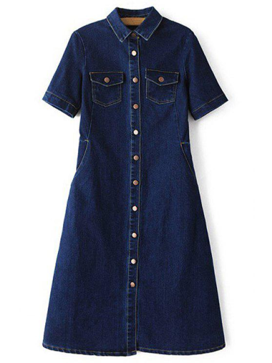fashion Denim Turn Down Collar Short Sleeve Midi Dress - DEEP BLUE S