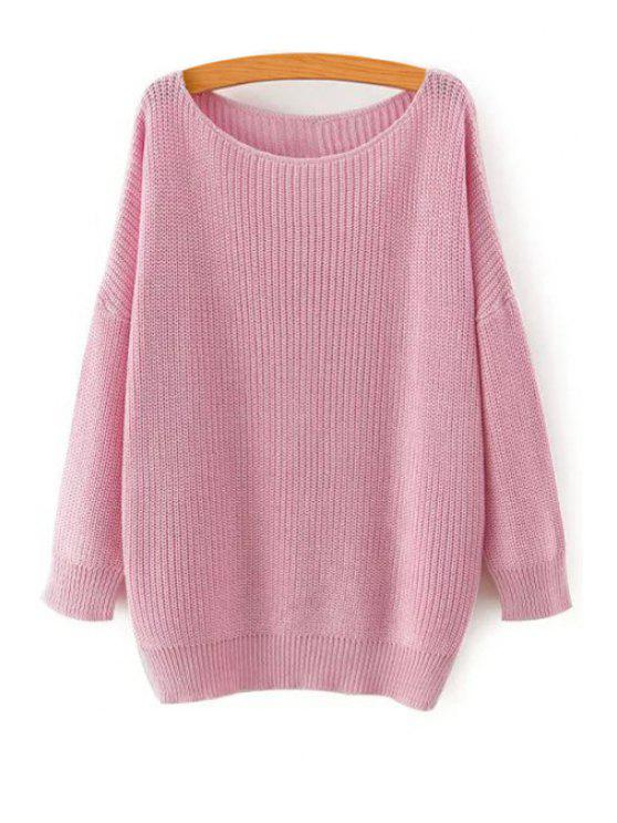 outfit Solid Color Loose-Fitting Jumper - PINK M