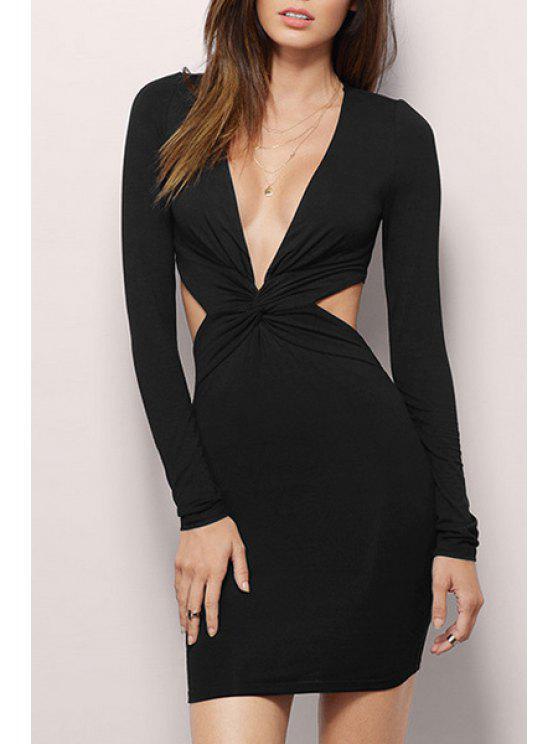 shop Plunging Neck Backless Zipper Long Sleeve Dress - BLACK M