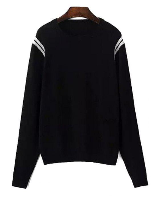 fashion Long Sleeve White Stripe Sweater - BLACK L