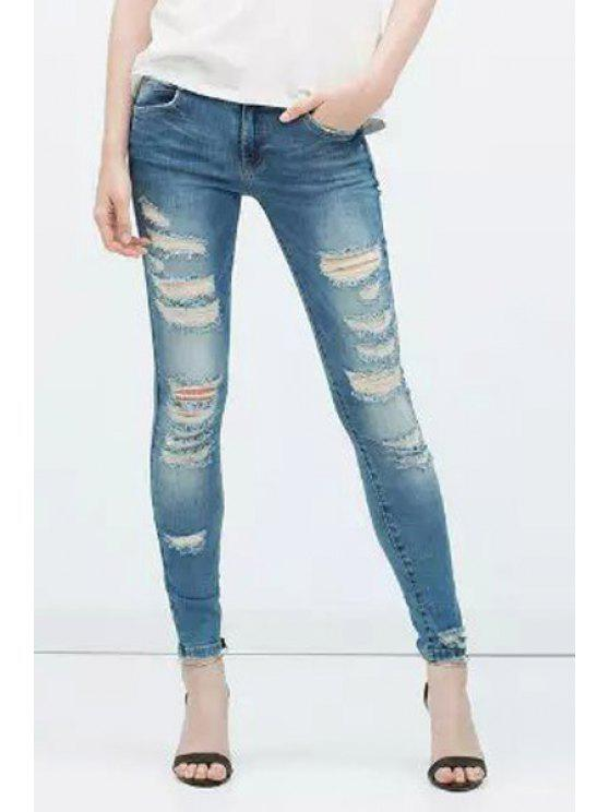 affordable Broken Hole Low Waist Skinny Jeans - DEEP BLUE S